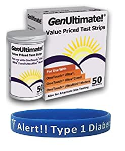 Saving for          Genultimate 50 count with Type 1 Diabetic Alert Wristband