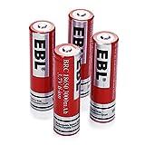EBL 4 Pack 3000mAh 3.7V Li-ion Rechargeable Batteries For Flashlight Headlights 1200 Cycles