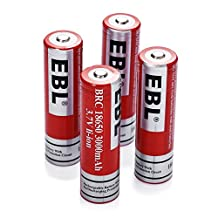 EBL 4 Pack 3000mAh 3.7V 18650 Li-ion Rechargeable Batteries 1200 Cycles