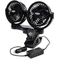 ROADPRO RPSC8572 Variable Speed Dual Fan with Mount Clip in Black