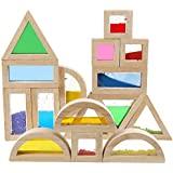 Kidpik Wooden Large Building Blocks for Toddlers Baby Kids 16 Pcs Geometry Sensory Wood Rainbow Stacking Blocks Construction