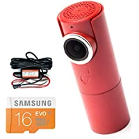Goluk T3 in FIRE RED car dash cam + Hard Wire Kit for parking surveillance + 16 GB SD Card Super Bundle