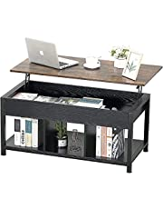 Dulcii Coffee Table,Lift Top Coffee Table Desk with Hidden Compartment and Partition Storage Function Dining Table Wooden Lift Tabletop Metal Frame for Living Room, Office, Family Room