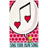 Open Road Brands Sing Your Own Song Metal Sign Peanuts Woodstock Yellow Bird Pink Blue White