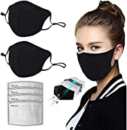 4pcs Fliters and 2pcs Cotton Face Bandanas Reusable with Nose Clip for Men and Women