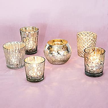 Luna Bazaar Best of Vintage Mercury Glass Candle Holders (Silver, Set of 6) - For Use with Tea Lights - For Home Decor, Parties, and Wedding Decorations