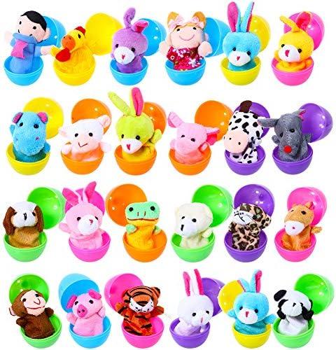 Acekid Easter Eggs Filled with Finger Puppets, 24pcs Kids Plush Animal Finger Puppets Set, Easter Theme Party Favor, Easter Eggs Hunt, Basket Stuffer Fillers for Boys & Girls