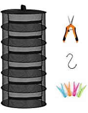 Herb Drying Rack 6 Layer Collapsible Mesh Hanging Drying Net Dryer with Pruning Shear and Storage, S Hook and 4 Pack Clothes Pegs