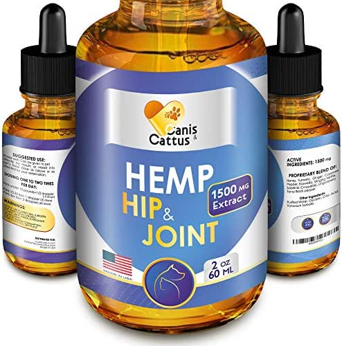 Hemp Oil for Dogs & Cats - 1500 MG - Hip & Joint Supplement - Turmeric for Dogs - Natural Dog Pain Relief - Supports Hip & Joint Health - Hemp Turmeric Ginger Cayenne Pepper