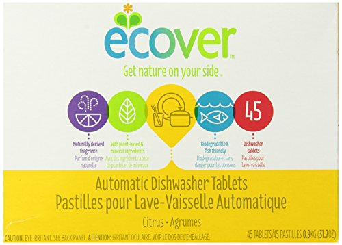 Ecover Genuinely Derived Automatic Dishwasher Tablets, Citrus, 45 Count, 31.7 Ounce