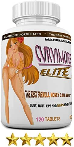 CURVIMORE Elite ☀ Our Most Advanced Natural Breast Enlargement, Butt Enhancement, Bust Enhancement Lip Plumping & Skin Tightening Pills – Fuller Breasts, Booty & Brazilian Butts. 120-Tablets.