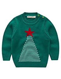 Boys Christmas Knitted Jumper Reindeer Sweater Toddler Novelty Crewneck Pullover
