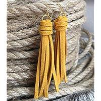 Goldenrod Yellow Faux Suede Tassel Earrings for Women