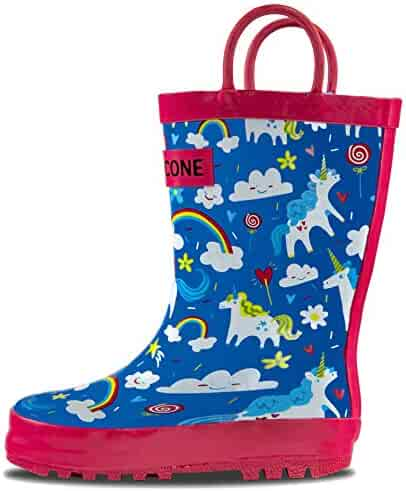 LONECONE Rain Boots Easy-On Handles in Fun Patterns Toddlers Kids, Gary The Unicorn, Little Kid 13