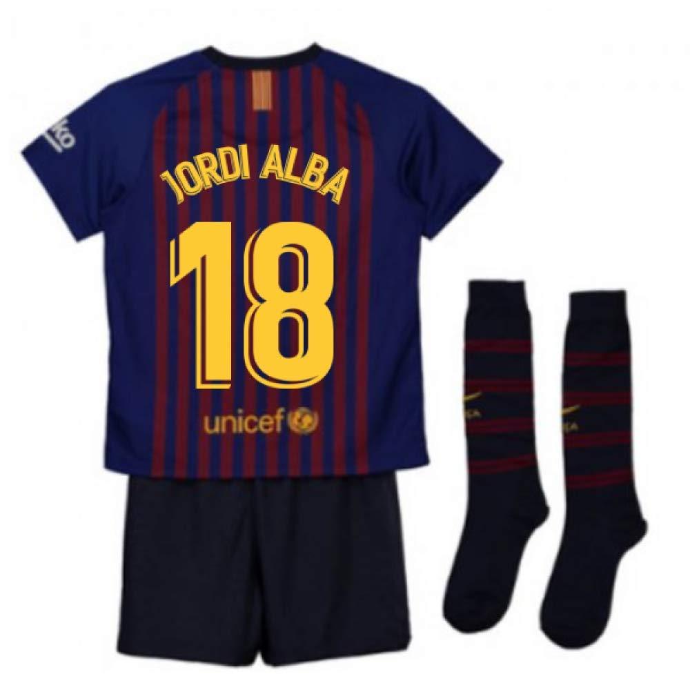 UKSoccershop 2018-2019 Barcelona Home Nike Little Boys Mini Kit (Jordi Alba 18)