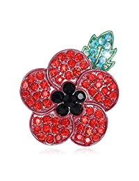 Remembrance Day New Red Green Black Crystal Silver Tone 5 Petal Poppy Brooch Pins