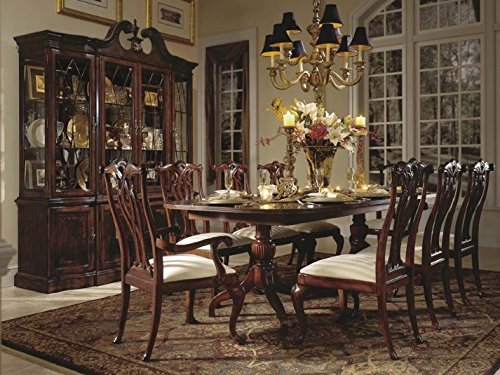 Cherry Grove 10 Pc Pedestal Table Set in Brown Finish 345995