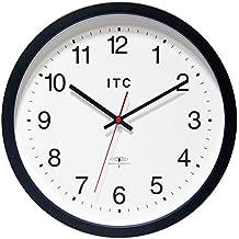 "INFINITY/ITC 90/RC14-1 Atomic Clock Radio Controlled Clock, 14"" Diameter, Black"