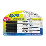 EXPO 1871774 Low-Odor Dry Erase Markers, Ultra Fine Tip, Black, 4 Count