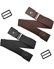 2 unidades sin hebilla cinturón elástico cómodo, findTop sin hebilla, cinturón ajustable de cintura para hombres, pantalones cortos, pantalones de mujer, vestido negro y marrón