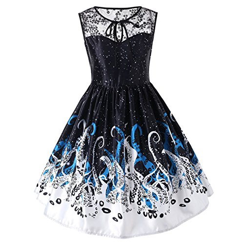 Londony HOT SALE Women's Vogue Octopus Print Lace Patchwork Elastic Belt BoatNeck Sleeveless Sexy Slim Vintage Tea Dress (Black, L