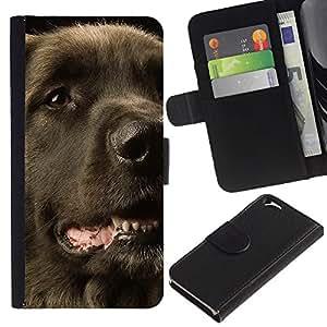 eJoy---La carpeta del tirón la caja de cuero de alta calidad de la PU Caso protector - Apple iPhone 6 - --Flat Coated Retriever Dog Black