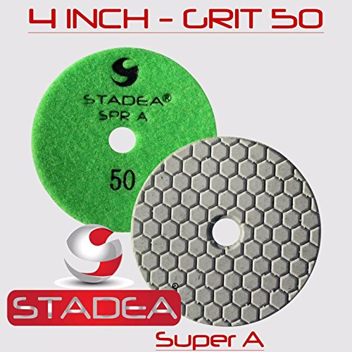 - Stadea DPPD04SPRA050G1P Dry Diamond Polishing Pad for Granite Travertine Concrete Stone Marble Glass Sanding Polishing with 4-Inch Grit 50