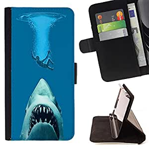 King Art - Premium-PU-Leder-Prima caja de la PU billetera de cuero con ranuras para tarjetas, efectivo Compartimiento desmontable y correa para la mu?eca FOR Apple Iphone 5C- Shark Sea