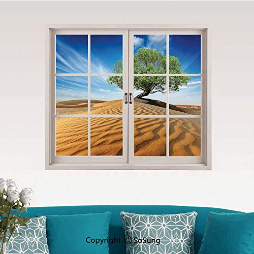Tree of Life Removable Wall Sticker/Wall Mural,Tree in The Desert on Sand Dune Dry But Alive Nature Habitat Life Photo Creative Close Window View Wall Decor,24