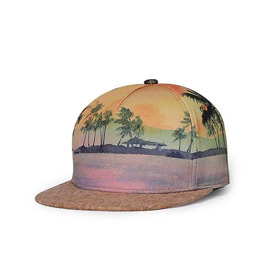 caa843031f86e Whoopsu Unisex 3D Print Hip Hop Dancing Baseball Cap Flat Bill Snapback  Adjustable Hat (Beach