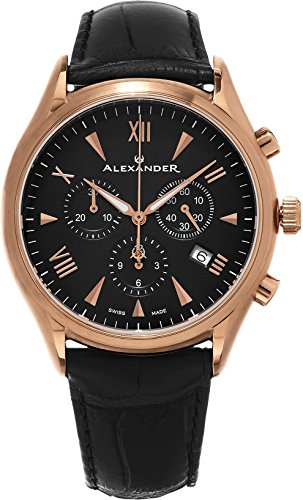 Alexander Heroic Pella Men's Multi-function Chronograph Black Leather Strap Rose Gold Plated Swiss Made Watch A021-03