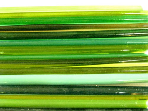 Boro Lampwork Glass - Devardi Glass COE 104 Mixed Greens 1 Lb, Lampwork, Beadmaking Glass Rods
