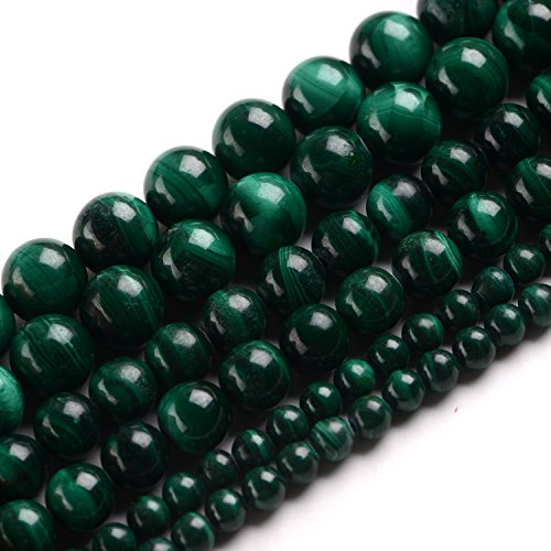 iSTONE Natural Round Grade A Malachite Gemstone Loose Beads