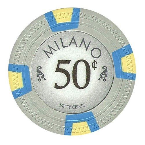 Claysmith Gaming 50 Cent Clay Composite 10 Gram Milano Poker Chips - Sleeve of 25