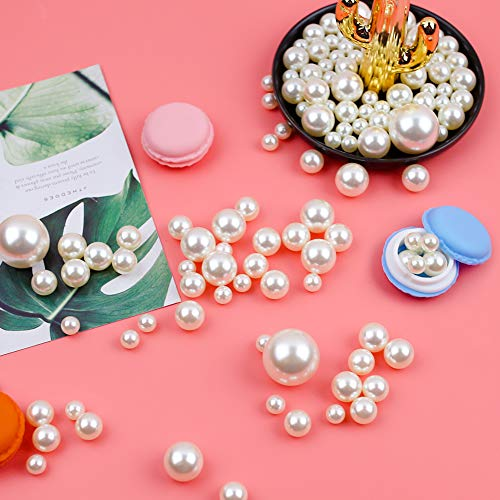 DomeStar Plastic Bead Pearls, 185 PCS 5 Sizes Assorted Pearls Bead Ivory Faux Pearls for Vase Filler Table Scatter Wedding Birthday Party Home Decoration
