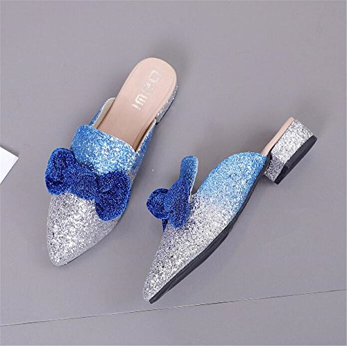 with Flip Sandals Flower on Blue Slides Flops Designer Home pit4tk Slip Slippers Women Mules 10zxU