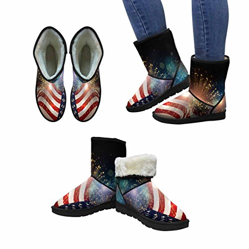 InterestPrint Womens Snow Boots United States Flag Fireworks Background For USA Independence Day, Fourth Of July Celebrate Unique Designed Comfort Winter Boots Multi 1