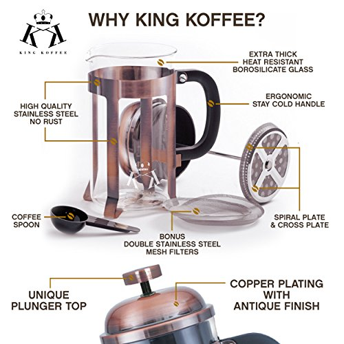 Copper French Press Coffee Maker Stainless Steel Cafetiere by King Koffee   34oz 1000 mL 8 Cups   Unique Extra Large Plunger   Antique Classic Edition   Milk Frother, Tea Infuser   Rust Free by VIKING (Image #4)