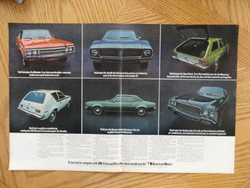 cars. Vintage 70's full page centerfold 13 1/2