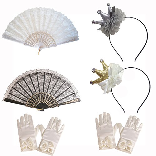 GILAND Girls Party Set Dress Up Play for 2 Girls with Crown Hair Hoop Gloves and Fans Lace Olivia by GILAND