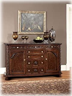 Ashley North Shore D553 60 70 Dining Room Server With Decorative Pilasters Ornately Detailed