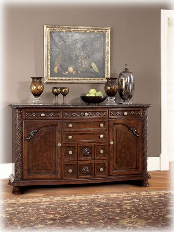 Attractive Ashley North Shore D553 60 70u0026quot; Dining Room Server With Decorative  Pilasters Ornately Detailed