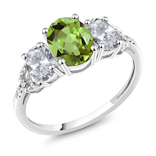 (10K White Gold Diamond Accent Three-Stone Engagement Ring set with 2.38 Ct Oval Green Peridot White Topaz (Size)