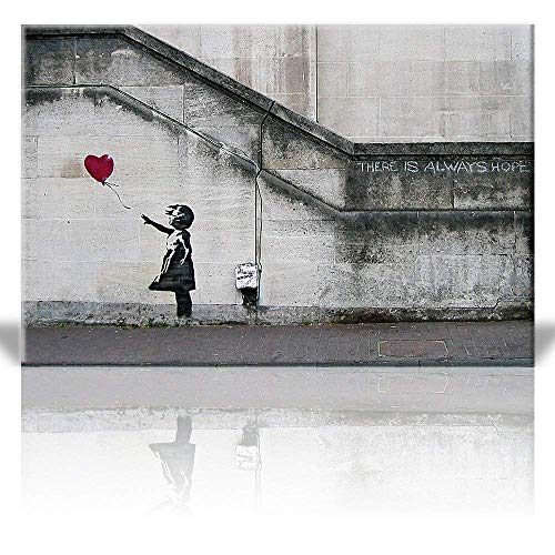 Panda Canvas Reproduction - Balloon Girl, Print Factory 32x48, There is Always Hope, Banksy Canvas, Wall Art, Decor, Street Art, Grafitti