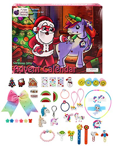 Gifts for Girls 2019 Advent Calendar, with 24 unique gifts including Unicorn Accessories, Hair Clips, Stamps for Kids, Cute Bracelets, a Large Hair Bow & Much More! Great Countdown Calendars for Girls (Christmas Advent Kids Calendar)