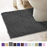 ITSOFT Non-Slip Shaggy Chenille Toilet Contour Bathroom Rug with Water Absorbent, Machine Washable, 21 x 24 Inches U-Shaped Charcoal Gray