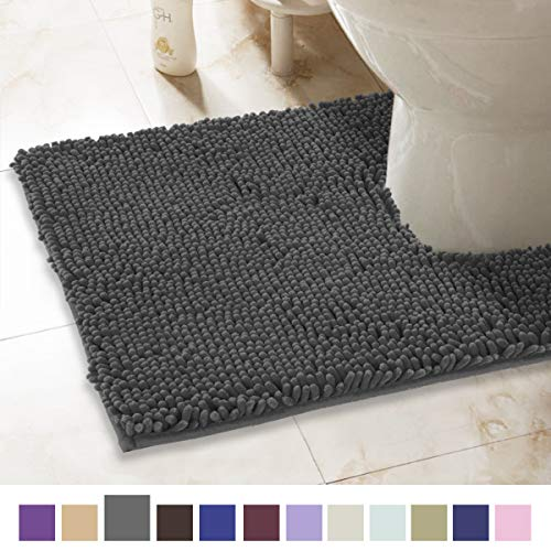 ITSOFT Non-Slip Shaggy Chenille Toilet Contour Bathroom Rug with Water Absorbent, Machine Washable, 21 x 24 Inch U-Shaped ()