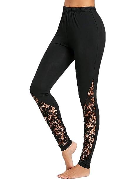 Amazon.com: Leggings de encaje para mujer, transpirables ...