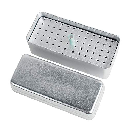 Disinfection Box Dental Burs Box Organizer 72 Holes Aluminium Alloy Sterilizer Case Holder