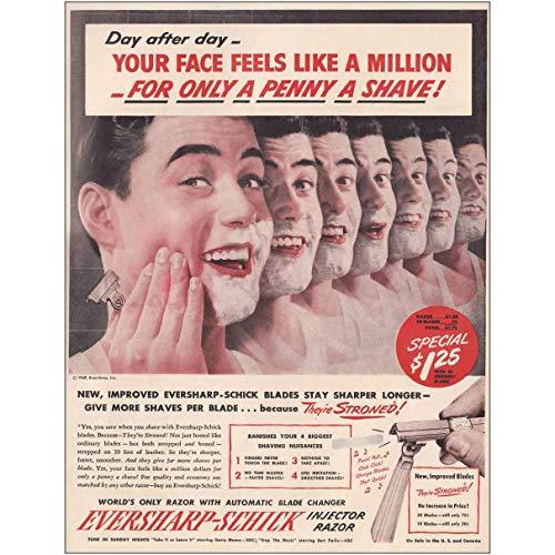 RelicPaper 1949 Eversharp-Schick Injector Razor: Penny a Shave, Schick Print Ad